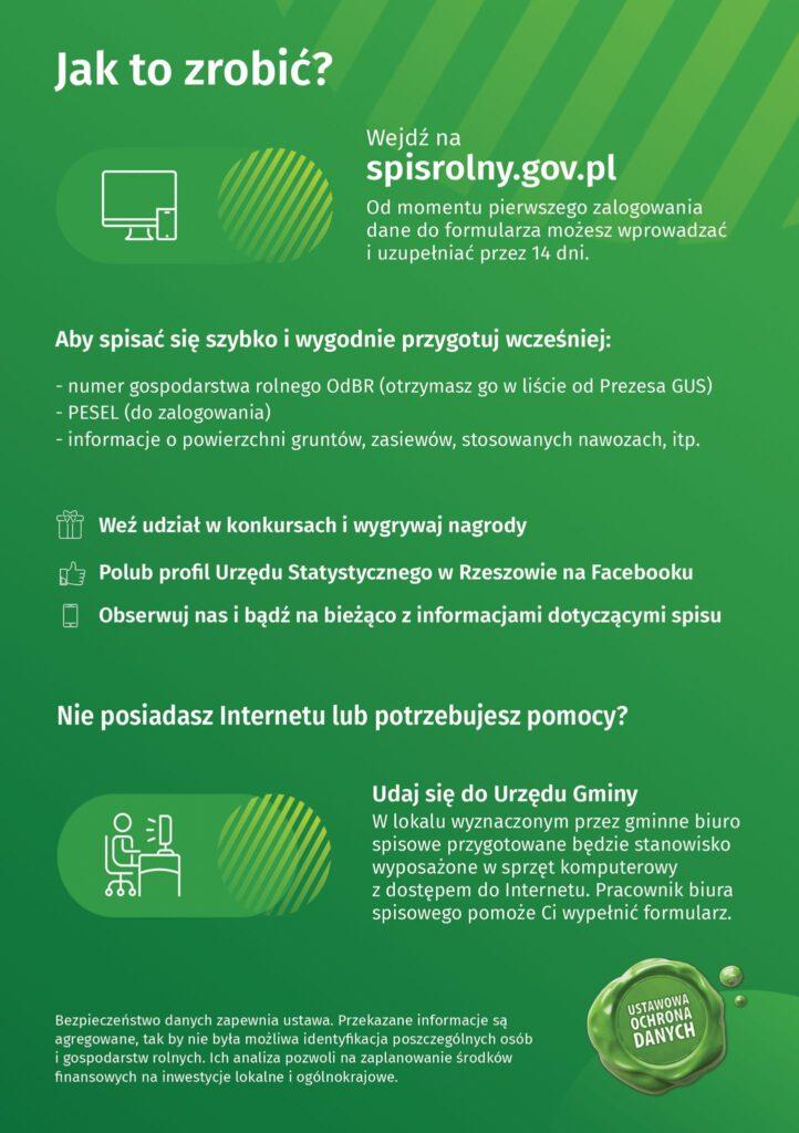 Plakat tłumaczący jak wpisać się do spisu Rolnym 1.09-30.11.2020
